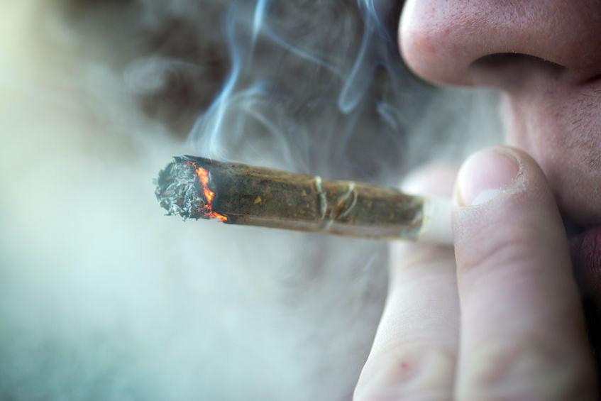 Man smoking weed
