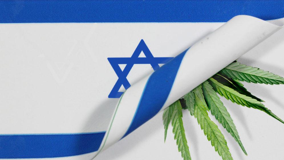 Israeli flag with cannabis