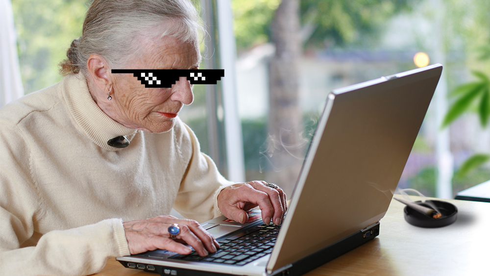 granny writing an article