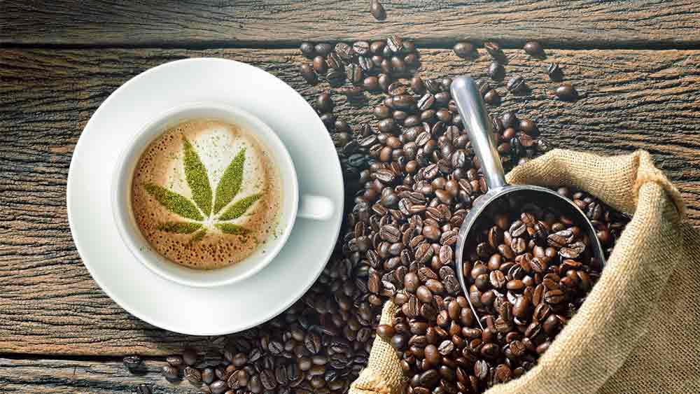 Coffee beans and a cannabis leaf