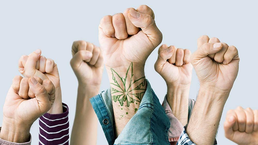 High hels fists with cannabis tattoo