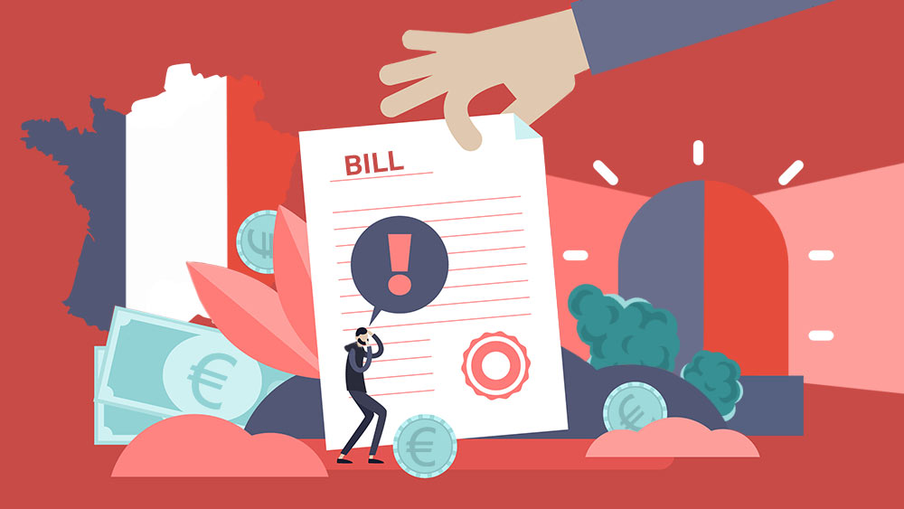 "Illustration of a man with an exclamation mark over a big paper that says ""Bill""."