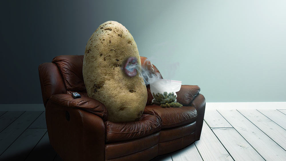 Couch potato smoking weed as a symbol of a lazy stoner stereotype.