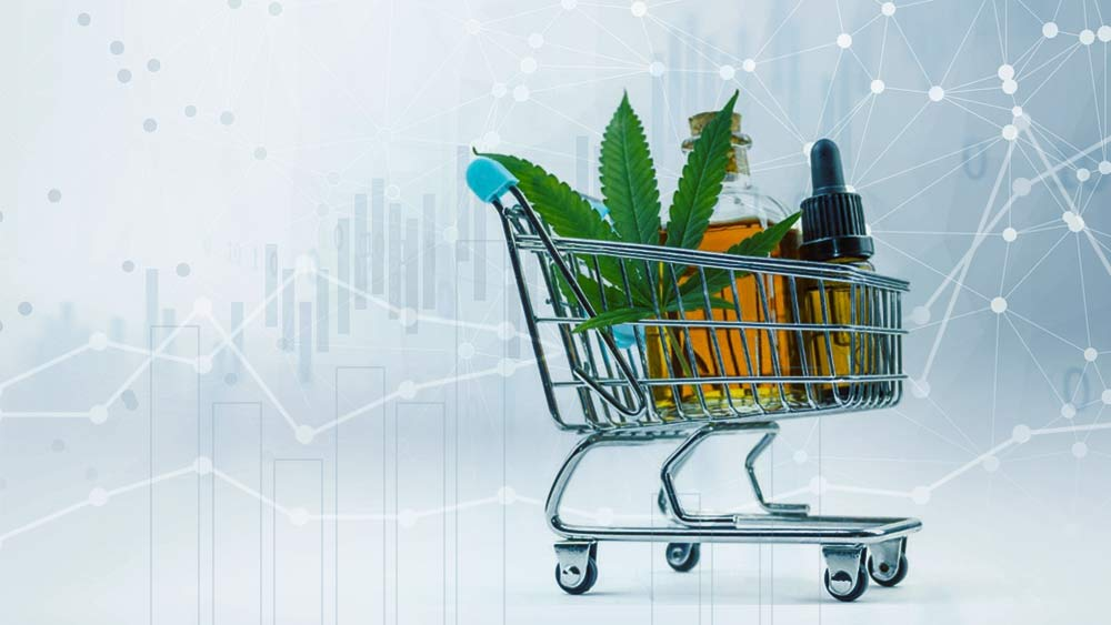 Shopping cart with pot products in it.