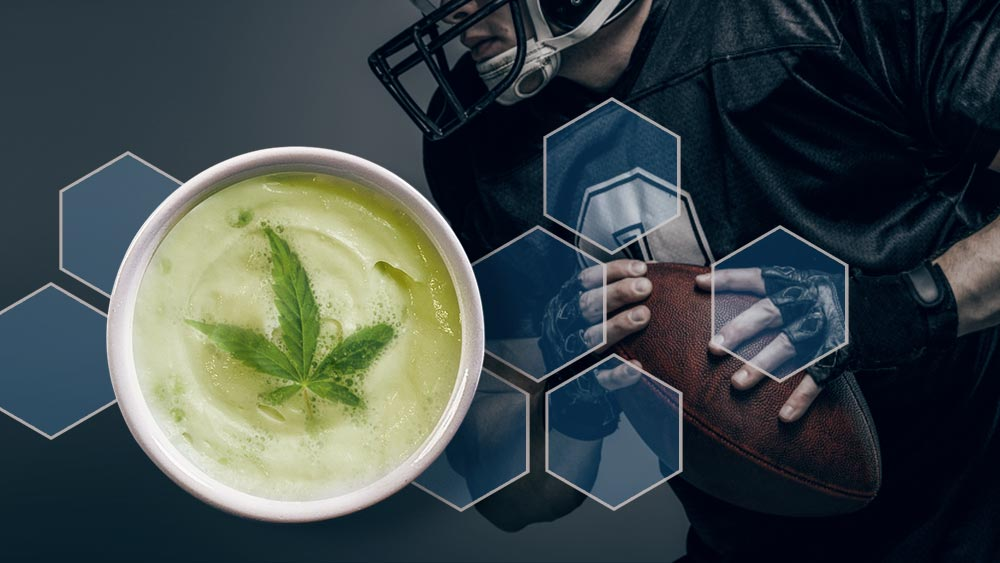 Baseball player and a cup of coffee with cannabis leaf in it