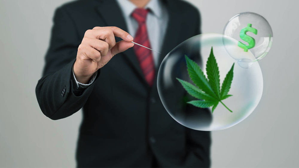 Man in a suit bursting a bubble with cannabis inside it