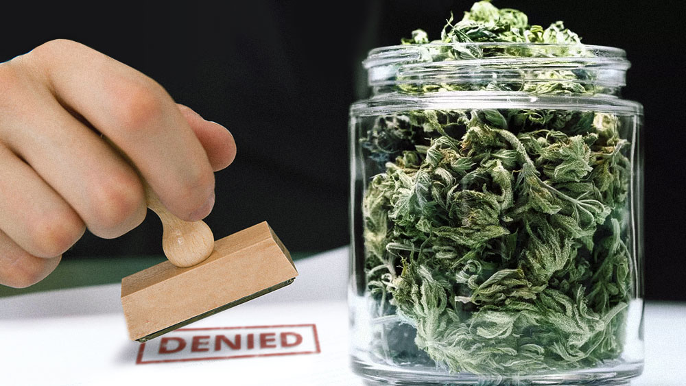 "jar of weed and a hand with a ""denied"" stamp"