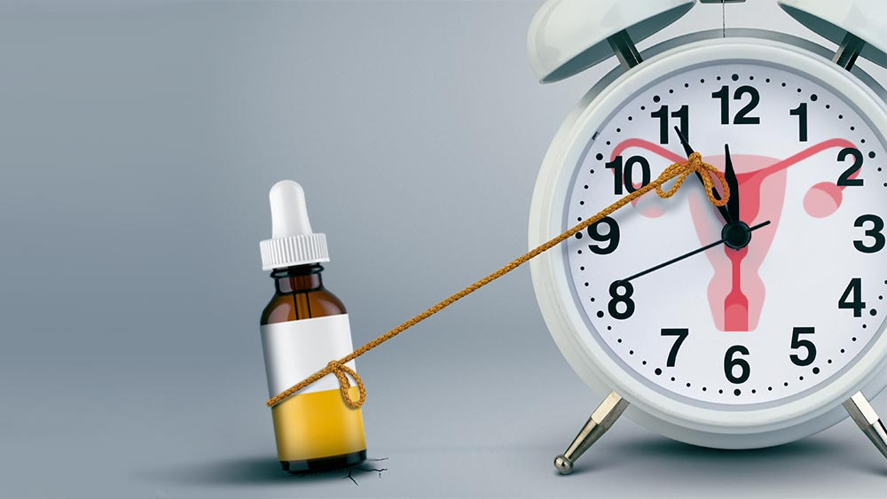 CBD oil bottle attached to a ticking clock