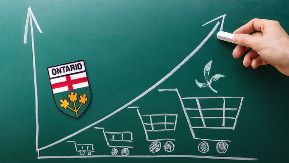Drawing of a curve going up over shopping carts, and Ontario coat of arms