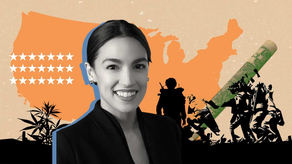 Photo of AOC and several cannabis-related actions in the background