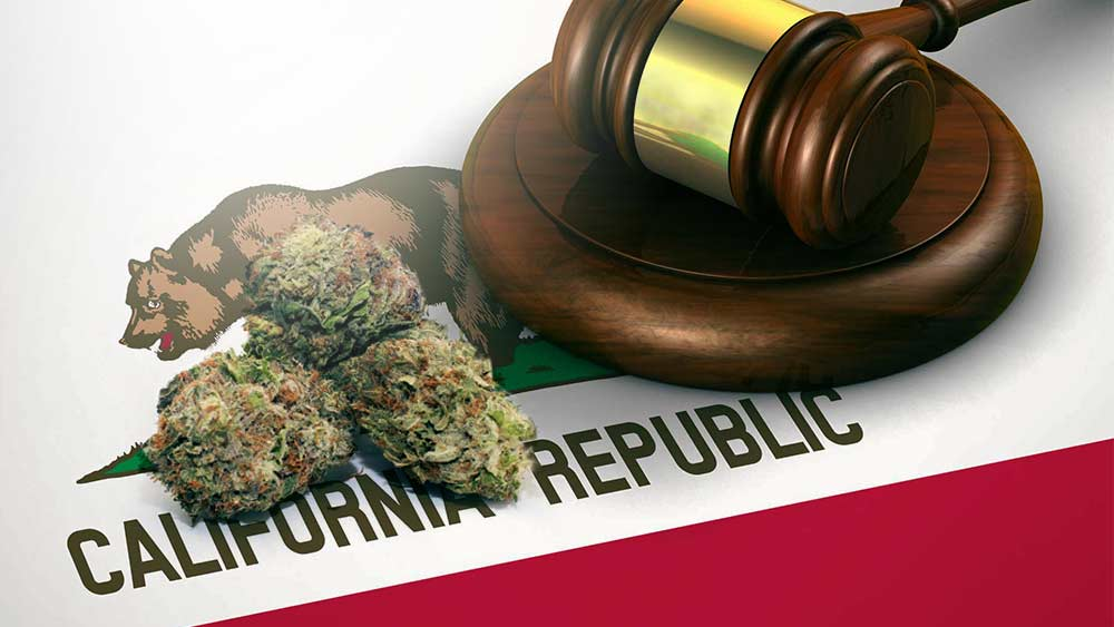 A gavel next to some weed all on California flag