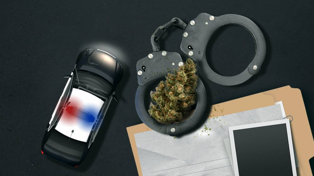 Police car, handcuffs, paper files and marijuana