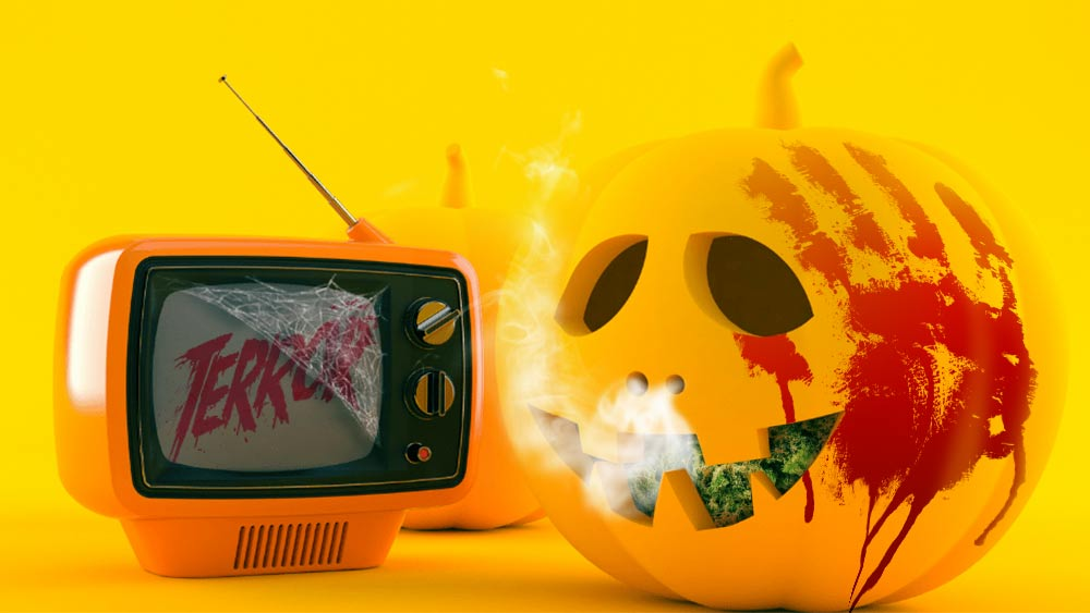 Pumpkin smoking weed and watching TV that says 'Terror'