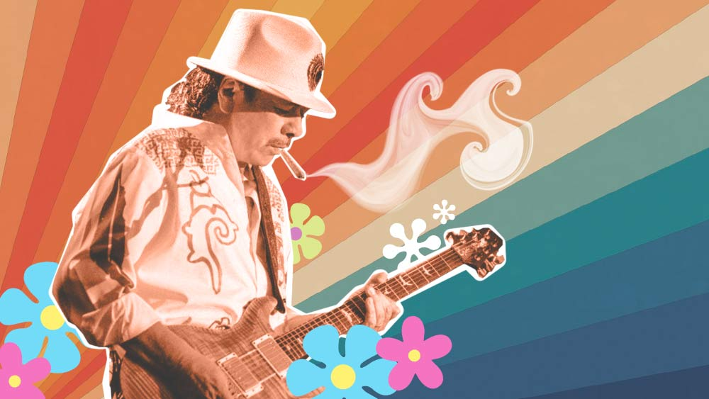 Santana playing guitar and colorful background