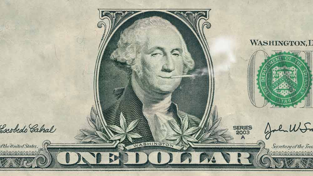 One dollar bill and picture of George Washington smoking